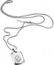 Police 25552PSS-01 swarovski kristali ile Erkek kristal kafa gümüş çelik kolye