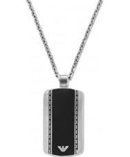Emporio Armani EGS1921040 şık kadife iki ton çelik kolye mens